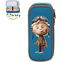 Pen Case Funny Aviator Pencil Bag Big Capacity Multifunction Canvas-blue for boy girl