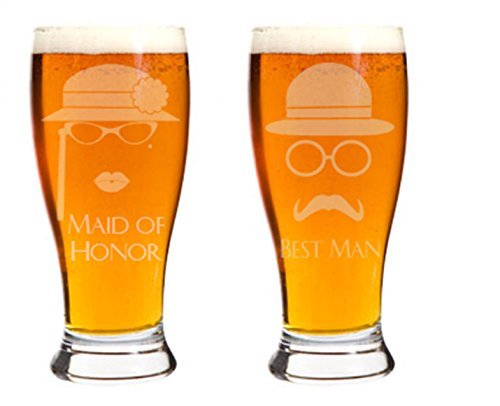 Hipster Maid of Honor Best Man Beer Glasses Personalized Hand Engraved Glass
