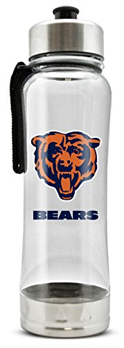 (NFL Chicago Bears 20oz Clip-On Clear Plastic Water Bottle )