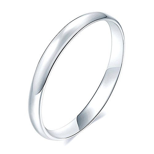 Sinlifu Stainless Steel 2mm Titanium Ring Matte Finish Polished Engagement Wedding Band (Silver White, 7) (Finish Plain Polished Silver Band)