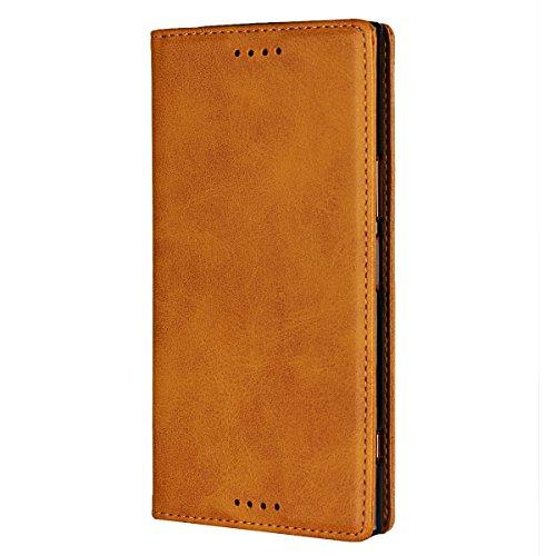 Cavor Sony Xperia XZ Premium Case, Sony XZ Premium Wallet Case, Premium PU Leather Flip Folio Case,Magnetic Closure,Stand Function with Card Slots/Cash Compartment for Sony XZ Premium-Light Brown