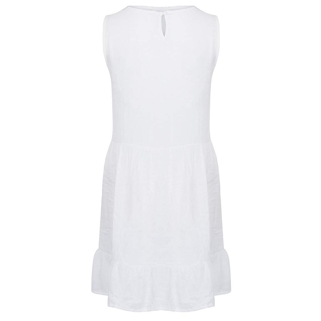 Summer Dresses for Women Casual O-Neck Ladies Solid Color Buttons Casual Mini Dress(White,M) by yijiamaoyiyouxia Dress (Image #5)