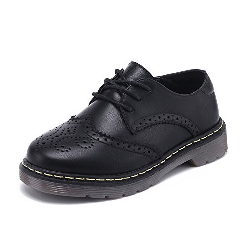 F-OXMY Kids Wing Tip Brogue Oxfords Dress Shoes Lace-up Non-Slip Comfort Casual Shoes Boys Black by F-OXMY