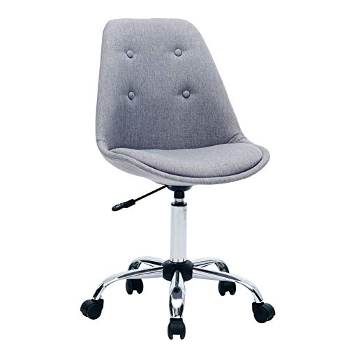 Porthos Home LVC018A Gry Caster Wheels, Height Adjustable, Chrome Metal Base for Leisure, Seating or a Casual Gaming Office Chairs Size 32-36x19x22 inch, Choice of Colors, One, Grey