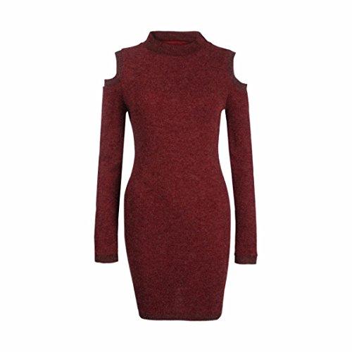 QIYUN.Z Somos Vestido de Suéter de Invierno Cálido Cuerpo Vestidos para mujer Red Wine