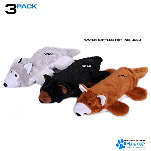 Max and Neo™ Fox, Bear and Wolf Water Bottle Dog Toys - 3 Pack - We Donate a Toy to a Dog Rescue for Every Toy Sold (Fox, Bear and Wolf)