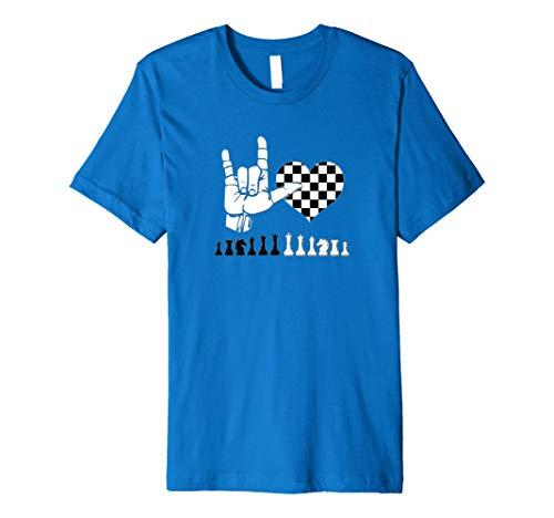 (Sign Language Shirt Says I Love Chess, Gift Premium T-Shirt)