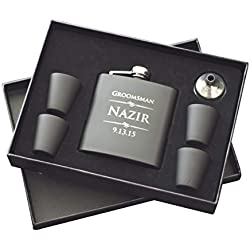 The Personalized Gift 6 Piece Custom Engraved Flask Gift Set, Black