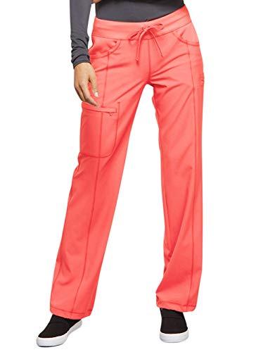 (Cherokee Infinity Women's 1123A Low Rise Straight Leg Drawstring Pant (Orange Sugar, Large Petite))