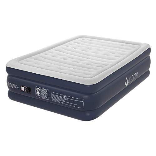 VICOODA Queen Air Mattress, Air Bed for Camping and Home Use, No Leak, Inflatable Queen Airbed Blow up Guest Bed Camping Tent Mattress Pillow Rest Raised Airbed Built-in Pump, 22 Inch