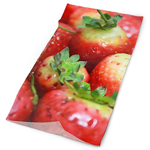 Red Strawberries Berry Vitamins Headwrap Unisex Multifunction Headwear Polyester Quick Dry Soft Headband Neck Scarf,Novelty Headdress Outdoors Magic Head Scarf Bandana Mask Neck Gaiter For Men Women