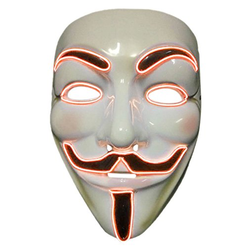 2017 Light Up EL LED V Face for Vendetta Movie Costume Guy Fawkes Anonymous Haloween Cosplay Mask (Orange) ()