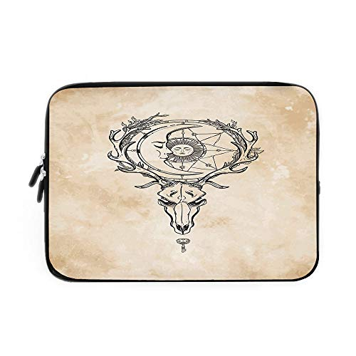 Sun Laptop Sleeve Bag,Neoprene Sleeve Case/Vintage Old Paper Background with Deer Skull Antlers Moon and Star Hand Drawn Outline/for Apple MacBook Air Samsung Google Acer HP DELL Lenovo AsusT
