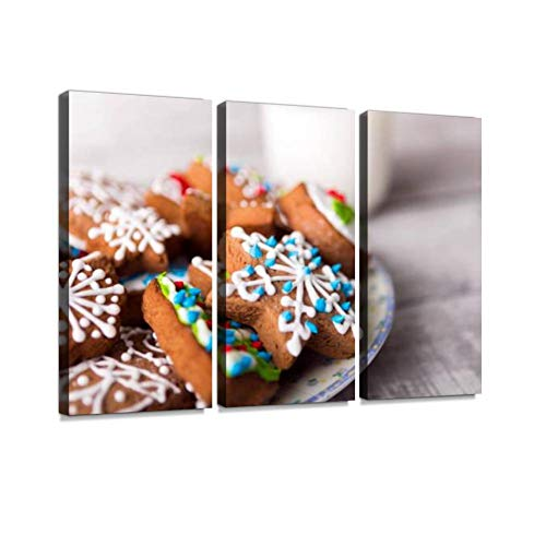 BELISIIS Milk and Gingerbread Cookies Decorated with Icing Wall Artwork Exclusive Photography Vintage Abstract Paintings Print on Canvas Home Decor Wall Art 3 Panels Framed Ready to Hang