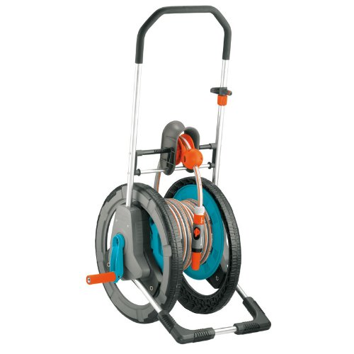Gardena 2683 164-Foot Capacity Garden Hose Reel Cart With 65-Foot 1/2-Inch Skin Tech Anti-Kink Garden Hose & Garden Spray Nozzle With Quick Connect by Gardena