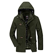 JIAX Men's Fashion Spring Autumn Breathable Cotton Hooded Style Classic Jacket