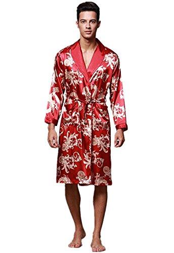 3a86d4c706 Yunjia Mens Silky Satin Ultra Robes Shawl Collar Kimono Dragon Print ...