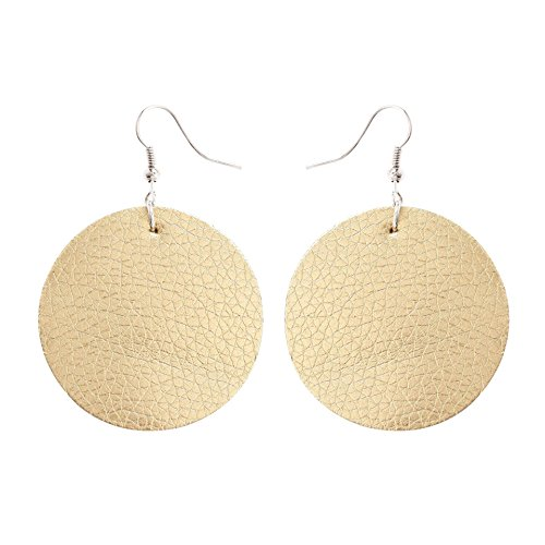 TIDOO Jewelry Round Shape Leather Earring for Girl (2# (Two Round Earring)