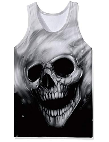 Awesome Skull Design - SKYRAINBOW Sport Gym Sleeveless Vest Shirts 3D Printed Realistic Skull Underwaist Gym Tank Tops for Men
