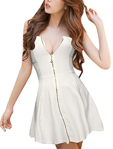 [Allegra K Women's Strapless Exposed Zipper Front Mini A-Line Dress S White] (Sexy Low Cut White Dress)