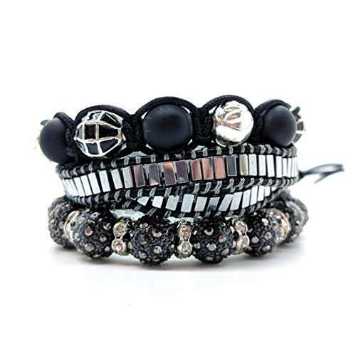 (Balla Bracelets Hematite and Black Austrian CrystalBead Strength Bracelet Set )