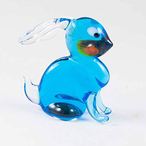 Glass Small Rabbit Figurine Hand-Blown Art Collectible Figures