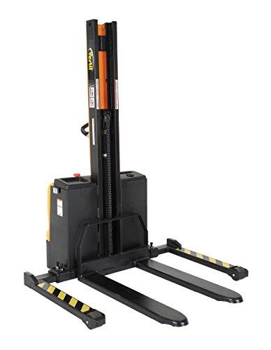 Vestil SNM-62-FA Steel Stacker Power Lift, Fixed Fork Adjustable Leg, 2200  lb  Capacity, Black/Yellow
