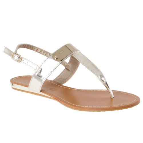 - BAMBOO Womens Saili Metallic-Detail Slingback Sandals, Gold, 7