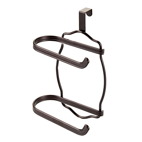 InterDesign York Lyra Over Tank Toilet Paper Holder - 2 Roll Storage for Bathroom, Bronze