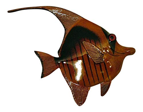 Tropical Black Brown Stripes Angel Fish Hanger Classic 7X6 Inches 26 Wall Decor