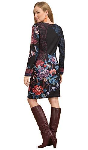 Robe 101 Noir Idees Imprimée Femme Longues Manches aZr5Z1Uqw