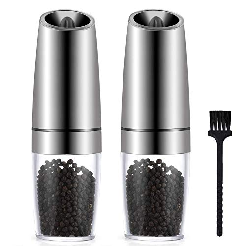 Miuly Premium Gravity Electric Salt and Pepper Grinder Set of 2, Automatic One Hand Pepper Mills with LED Light, Adjustable Coarseness, Stainless Steel Grinders, with Free Cleaning Brush (Gravity Coffee Grinder)