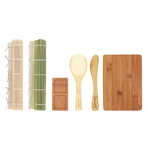 BambooMN Sushi Maker Kit - Green and Natural Sushi Rolling Mats, Rice Paddle, Spreader, Sushi Sauce Dish, and Cutting Display Board