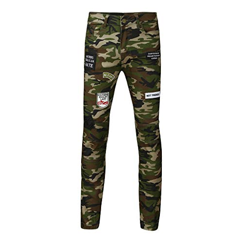 Men's Fashion Camouflage Casual Pants Long Jeans Straight Slim Fit Ttrousers, ()