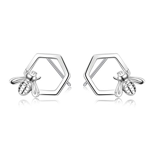 Bee Stud Earrings 925 Sterling Silver Honeycomb Bee Earrings for Women Girls (Silver Honey 925 Sterling)