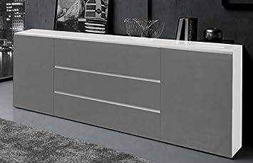 Amazon.de: Generic Sideboard Wohnzimmer ANBAUWAND Schrank Weiß Grau ...