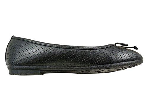 Bailarinas, diseño con lazo, diseño de Botas planas troué Negro - negro