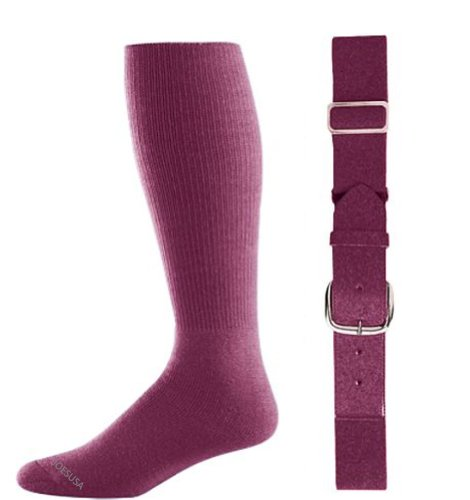 Joe's USA - Baseball Socks & Belt Combo Set Colors Available (Maroon, Youth (7-9))