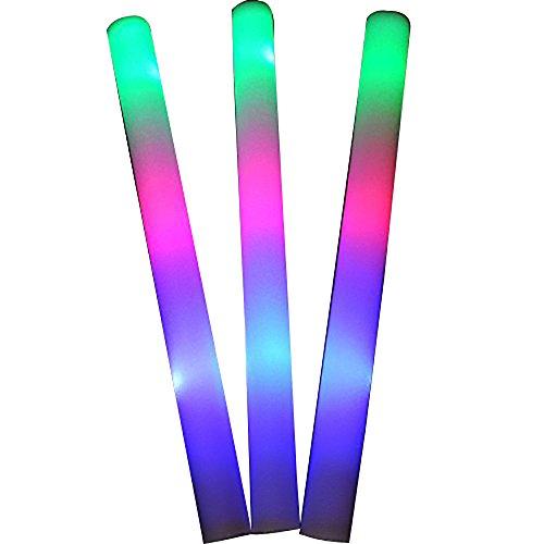 "Taotuo 12 PCS 19"" LED Light-Up Foam Sticks Rally Rave Cheer Tube Soft Glow Baton Wands"