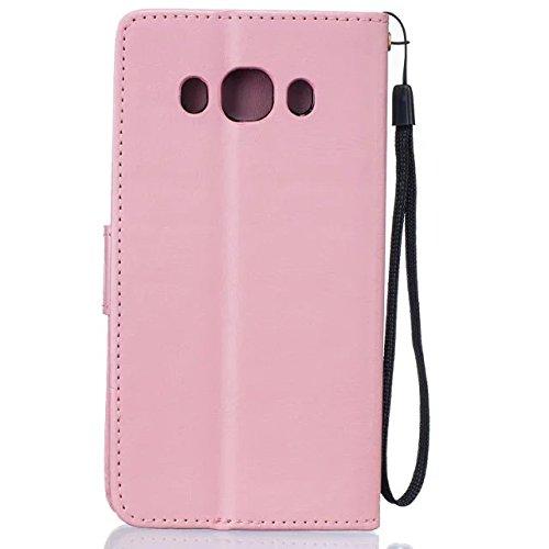 JIALUN-Personality teléfono shell Samsung J510 Funda de cuero de la PU de alta calidad cubierta de la caja Color sólido de la cubierta de la caja del soporte de la cartera de diente de león en relieve Pink