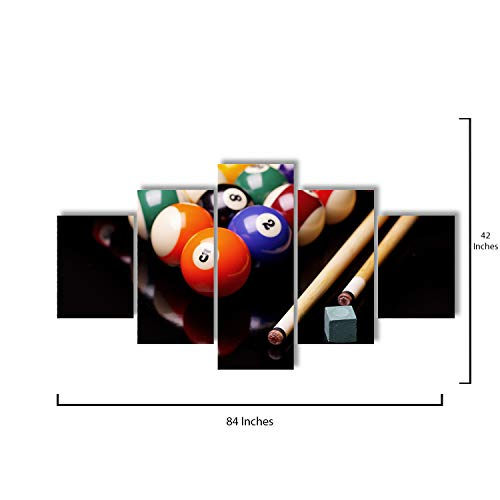 (Star Layout - 5 Piece Canvas Wall Art - Billiards Balls and Cues with Chalk - Modern Home Decor Stretched and Framed Ready to Hang - 84