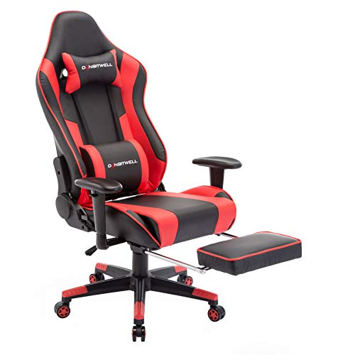 DANSITWELL Gaming Chairs for Adults, Ergonomic Adjustable Racing Chair with Footrest High Back Computer Chair with Headrest and Lumbar Support (Red)