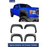 Tyger Auto TG-FF8G4158 For 2007-2013 GMC Sierra 1500 (NOT For Short Bed) | Paintable Smooth Matte Black Pocket Bolt-Riveted Style Fender Flare Set, 4 Piece