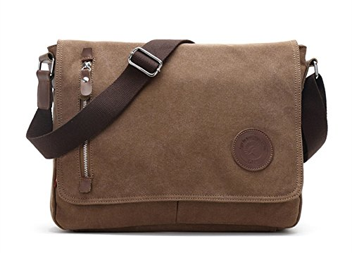 Sechunk Canvas Leather Messenger Bag