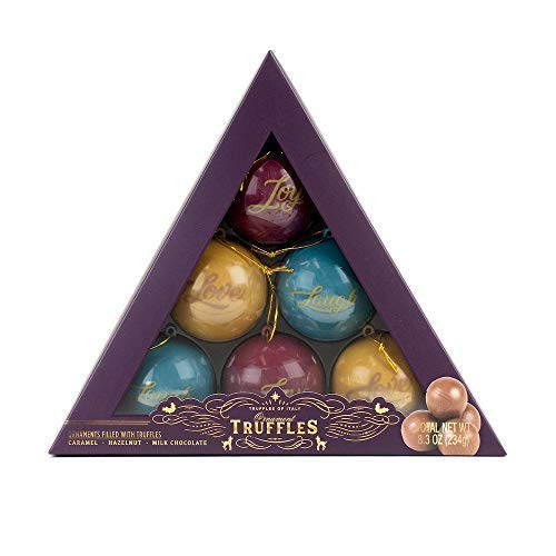 The Ornament Truffles Gift Set | Contains 18 Chocolate Truffles in Delicious Caramel, Hazelnut, and Milk Chocolate Flavors
