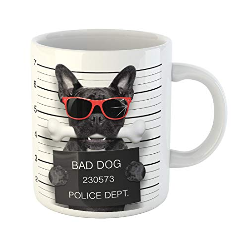 Semtomn Funny Coffee Mug Funny Cute French Bulldog Holding Placard While Mugshot Is 11 Oz Ceramic Coffee Mugs Tea Cup Best Gift Or Souvenir -