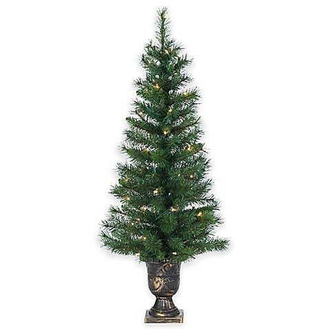 Outdoor Lighted Potted Christmas Trees - 7