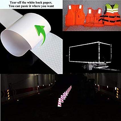 remolques Cinta reflectante cascos bicicletas coches YMWALK 2 piezas de 5 cm x 3 metros cinta reflectora autoadhesiva de alta visibilidad para veh/ículos blanco y rojo