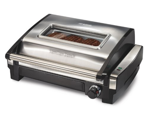 Hamilton Beach (25361) Electric Indoor Grill & Searing Grill with Removable Plates and Viewing Window, Silver