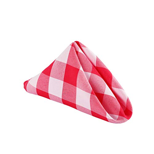 Waysle 15 x 15-Inch Napkins, 100% Polyester Washable Cloth Napkins,Set of 12, Red and White Checker]()
